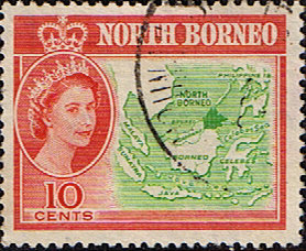 Stamp Stamps North Borneo 1961 SG 395 Map Fine Used Scott 284