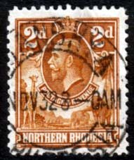 Stamps of Northern Rhodesia 1925 Animals SG 4 Fine Used Scott 4