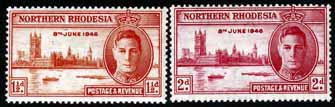 Postage Stamps Northern Rhodesia 1946 King George VI Victory Set Fine Mint