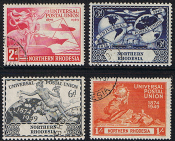 Northern Rhodesia Stamps 1949 Universal Postal Union Set Fine Used