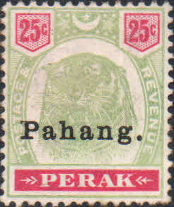 Stamps Pahang 1895 Tiger Overprint SG 19 Fine Used Scott 16