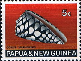 Postage Stamps Papua New Guinea 1968 Marbled Cone Sea Shells SG 140 Fine Used Scott 268
