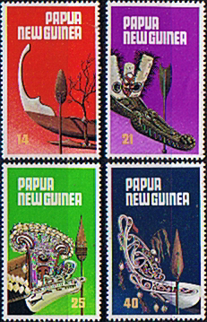 Pacific Island Stamps Papua New Guinea 1979 Traditional Canoe Prows and Paddles Se