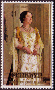 Postage stamps of Penrhyn 1980 Queen Mothers 80th Birthday Fine Mint