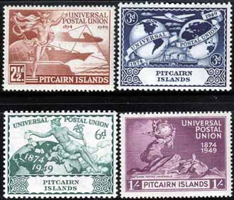 Pitcairn Islands Stamps 1949 Universal Postal Union Set Fine Mint