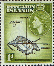 Postage Stamp Stamps Pitcairn Islands 1957 SG 19 Map Fine Mint Scott 21