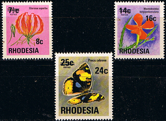 Stamps of Rhodesia 1976 Surcharged Overprint Set Fine Mint