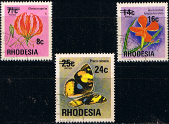Rhodesia 1976 Surcharged Overprint Set Fine Used