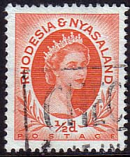 Postage Stamps Rhodesia and Nyasaland 1954 Queen Elizabeth II SG  1 Fine Used