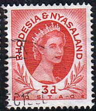 Postage Stamps Rhodesia and Nyasaland 1954 Queen Elizabeth II SG 4 Fine Used