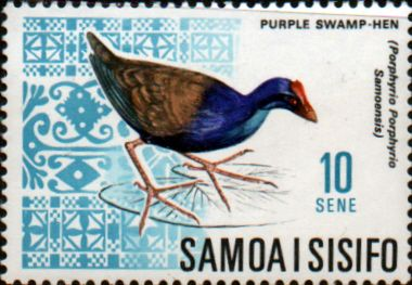 Samoa 1967 Decimal currency SG 285 Purple Swamphen Bird Fine Mint