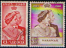 Sarawak Stamps 1948 King George VI Royal Silver Wedding Set Fine Mint