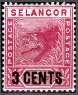 Malay Stamps Selangor 1891 Tiger Surcharged Fine Mint SG 53 Scott 28
