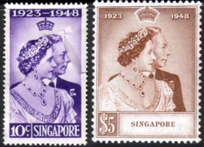 Singapore Stamps 1948 King George VI Royal Silver Wedding