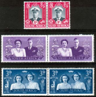 Stamps South Africa 1947 Royal Visit Set Fine Mint SG 111 - 113 Scott 103 - 105