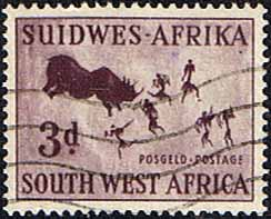 South West Africa 1954 SG 156 Rock Paintings Rhinoceros Hunt Fine Used