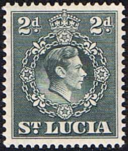 ritish Commonwealth Stamps St Lucia 1938 King George VI SG 131a Fine Used Scott 114
