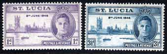 Stamps St Lucia 1946 King George VI Victory Set Fine Mint