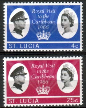 Stamps St Lucia 1966 Caribbean Royal Visit Set Fine Mint