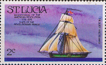 St Lucia 1976 Bicentenary of American Revolution Ship SG 408 Fine Mint