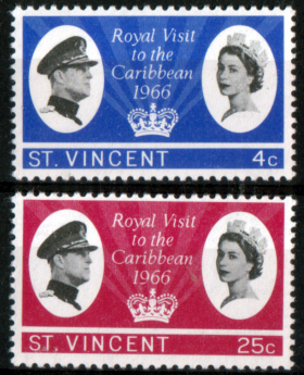 Stamps St Vincent 1966 Caribbean Royal Visit Set Fine Mint