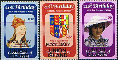 Stamps 1982 St Vincent Union Island Diana 21st Birthday ROYAL BABY Overprint Set Fine Mint