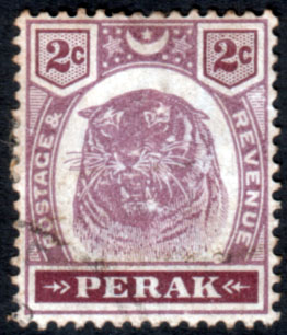 Stamps Malay State of Perak 1895 Tiger SG 67 Fine Used Scott 48