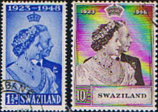Stamps Stamp Swaziland King George VI Royal Silver Wedding Set Fine Used