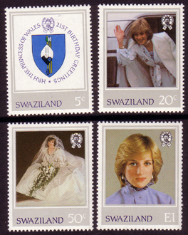 Royalty Stamps 1982 Swaziland Diana 21st Birthday Set Fine Mint