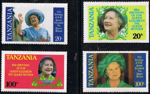 Stamps Tanzania 1985 Queen Mother Life and Times Set Fine Mint
