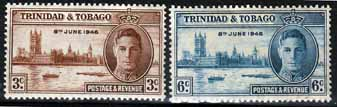 Stamps Trinidad and Tobago 1946 King George VI Victory Set Fine Mint