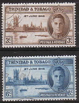 Stamps Trinidad and Tobago 1946 King George VI Victory Set Fine Used