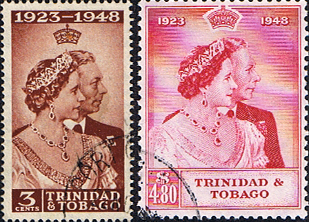 Stamps Trinidad and Tobago King George VI Royal Silver Wedding Set Fine Used