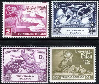 Postage Stamps of Trinidad and Tobago 1949 Universal Postal Union Set Fine Mint