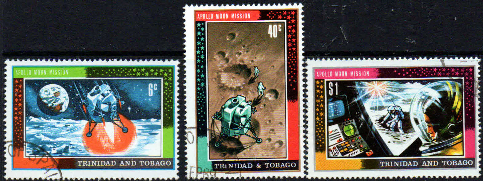 Trinidad and Tobago 1969 First Man on the Moon Set Fine Used