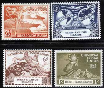 Turks and Caicos Stamps 1949 Universal Postal Union Set Fine Mint