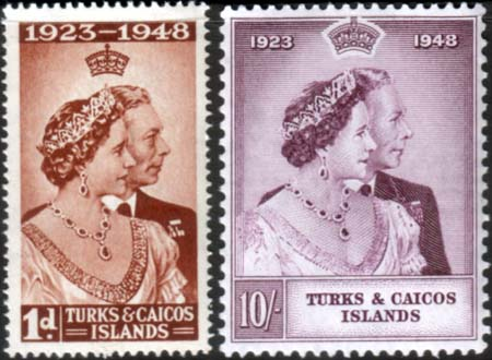 Turks and Caicos Islands Stamps 1948 King George VI Royal Silver Wedding