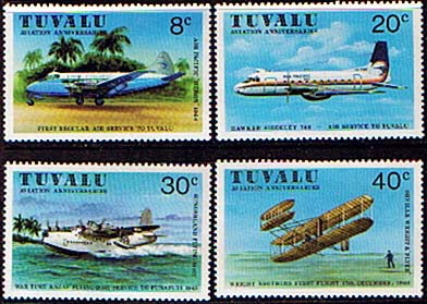 Postage Stamps Tuvalu 1980 Aviation Commemorations Set